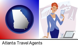 Atlanta, Georgia - a travel agent in a travel agency, holding airline tickets