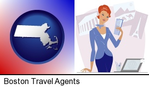 Boston, Massachusetts - a travel agent in a travel agency, holding airline tickets
