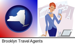 Brooklyn, New York - a travel agent in a travel agency, holding airline tickets
