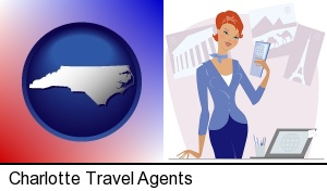 a travel agent in a travel agency, holding airline tickets in Charlotte, NC