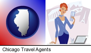 a travel agent in a travel agency, holding airline tickets in Chicago, IL