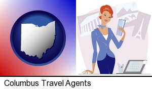 a travel agent in a travel agency, holding airline tickets in Columbus, OH