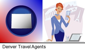 Denver, Colorado - a travel agent in a travel agency, holding airline tickets