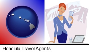Honolulu, Hawaii - a travel agent in a travel agency, holding airline tickets