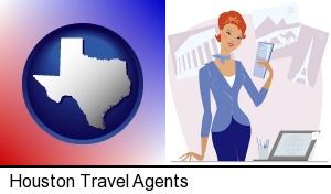 a travel agent in a travel agency, holding airline tickets in Houston, TX