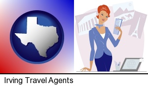 Irving, Texas - a travel agent in a travel agency, holding airline tickets