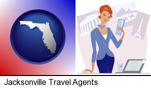 Jacksonville, Florida - a travel agent in a travel agency, holding airline tickets