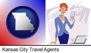 Kansas City, Missouri - a travel agent in a travel agency, holding airline tickets