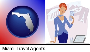 Miami, Florida - a travel agent in a travel agency, holding airline tickets