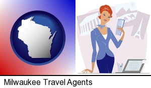 Milwaukee, Wisconsin - a travel agent in a travel agency, holding airline tickets