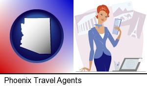 Phoenix, Arizona - a travel agent in a travel agency, holding airline tickets