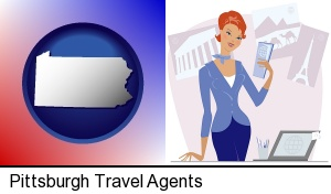 a travel agent in a travel agency, holding airline tickets in Pittsburgh, PA