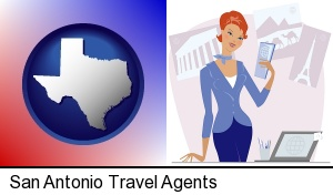 San Antonio, Texas - a travel agent in a travel agency, holding airline tickets