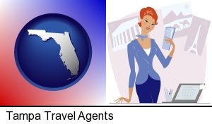 Tampa, Florida - a travel agent in a travel agency, holding airline tickets