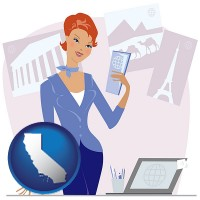 california map icon and a travel agent in a travel agency, holding airline tickets