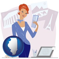illinois map icon and a travel agent in a travel agency, holding airline tickets