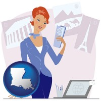 louisiana map icon and a travel agent in a travel agency, holding airline tickets