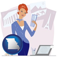 missouri map icon and a travel agent in a travel agency, holding airline tickets