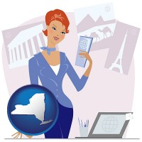 new-york map icon and a travel agent in a travel agency, holding airline tickets
