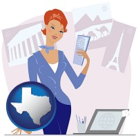 texas map icon and a travel agent in a travel agency, holding airline tickets