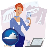 virginia a travel agent in a travel agency, holding airline tickets