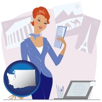 washington map icon and a travel agent in a travel agency, holding airline tickets