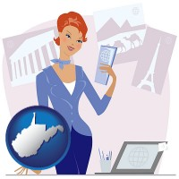 west-virginia map icon and a travel agent in a travel agency, holding airline tickets