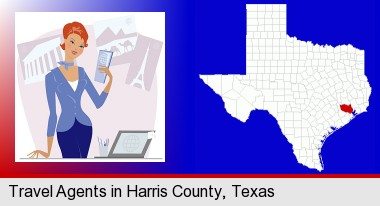 a travel agent in a travel agency, holding airline tickets; Harris County highlighted in red on a map