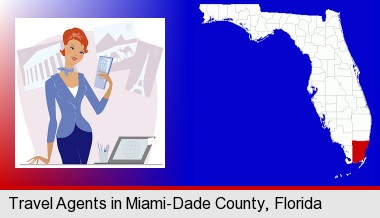 a travel agent in a travel agency, holding airline tickets; Miami-Dade County highlighted in red on a map