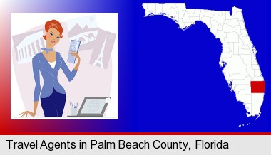 a travel agent in a travel agency, holding airline tickets; Palm Beach County highlighted in red on a map