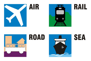 travel icons for air, rail, road, and sea travel